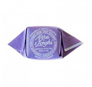 Violet candies in tin box